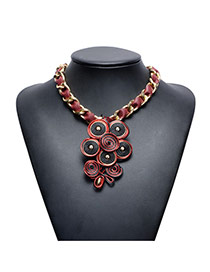 Trendy Red Hand-woven Round Shape Pendant Decorated Short Chain Necklace