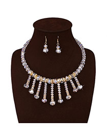 Elegant White Round Shape Decorated Tassel Short Chain Jewelry Sets