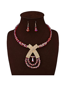 Fashion Red Big X Letter Decorated Short Chain Jewelry Sets