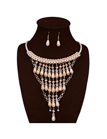 Exaggerate Beige Oval Shape Pendant Decorated Hang Woven Jewelry Sets