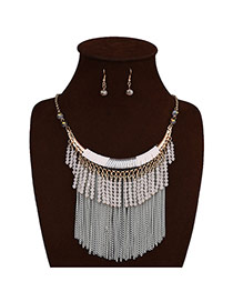 Elegant White Tassel Decorated Short Chain Jewelry Sets