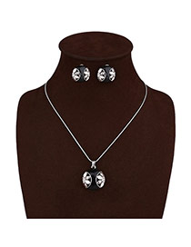 Elegant Silver Color Double Flower Pendant Decorated Long Chain Jewelry Sets