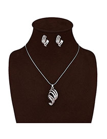 Exaggerate Silver Color Conch Shape Pendant Decorated Long Chain Jewelry Sets