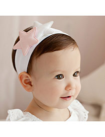 Lovely White Double Star Decorated Simple Wide Hair Hoop