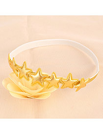 Lovely Gold Color Star&flower Decorated Simple Hair Hoop
