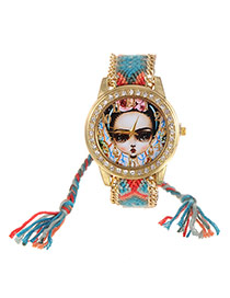 Fashion Blue+red Girl Dial Plate Decorated Hand-woven Belt Tassel Watch