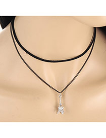 Elegent Silver Color Eiffel Tower Pendant Decorated Double Layer Necklace