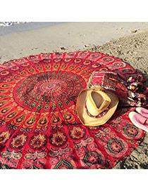 Bohemia Red Flower Pattern Decorated Round Shape Scarf