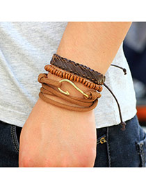 Fashion Brown Metal Hook Decorated Hand-woven Multilayer Bracelet