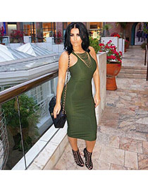 Sexy Green Pure Color Decorated Sleeveless O Neckline Tight Dress