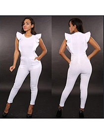 Sexy White Pure Color Decorated Lotus Leaf Sleeve O Necklace Jumpsuits