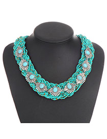 Vintage Green Oval Gemstone Decorated Hand-woven Chain Necklace