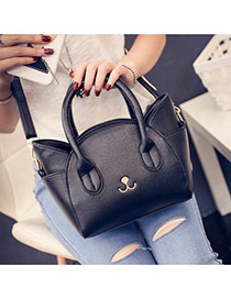 Cute Black Cat Shape Decorated Regular Geometric Shoulder Bag
