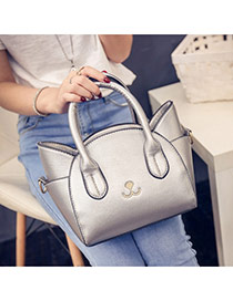 Cute Gray Cat Shape Decorated Regular Geometric Shoulder Bag