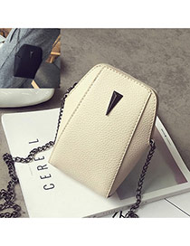 Cute White Metal Triangle Decorated Geometric Shape Wallet