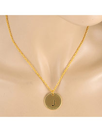 Fashion Gold Color Letter J&round Pendant Decorated Simple Necklace