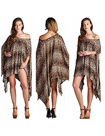 Sexy Leopard Color Leopard Pattern Decorated Batwing Sleeve Irregular Dress