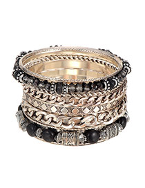 Vintage Black Beads&chain Weaving Decorated Multilayer Bracelet