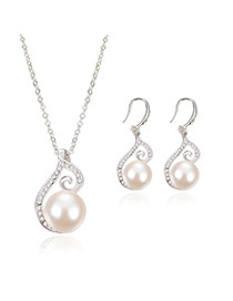 Elegant Silver Color Pearl Pendant Decorated Simple Jewelry Sets