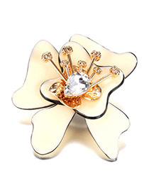 Luxury Beige Waterdrop Diamond Decorated Big Flower Shape Brooch