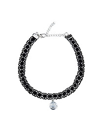 Elegant Black Smiling Face Pendant Decorated Hollow Out Chain Necklace