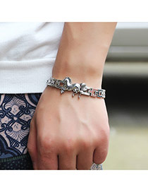 Elegant Silver Color Horse Pattern Decorated Hollow Out Chain Bracelet