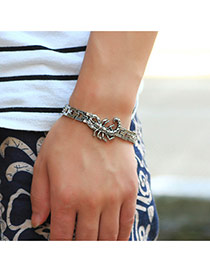 Fashion Silver Color Scorpio Pattern Decorated Hollow Out Chain Bracelet