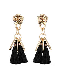 Fashion Black Long Tassel&vertical Bar Pendant Decorated Flower Shape Earrings