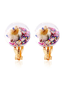 Fashion Multi-color Flower&diamond Decorated Transparent Ball Shape Earrings