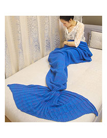 Fashion Sapphire Blue Pure Color Decorated Mermaid Shape Simple Blanket(small)