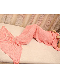 Fashion Pink Pure Color Decorated Mermaid Shape Simple Blanket(small)