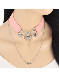 Fashion Pink Flower Pendant Decorated Double Layer Simple Collar Necklace