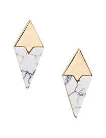Fashion White Irregular Shape Gemstone Decorated Simple Earrings