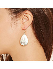 Fashion White Water Drop Shape Shell Pendant Decorated Simple Earrings