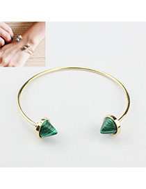 Personalized Green Rivet Shape Gemstone Decorated Opening Bracelet