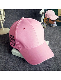Fashion Pink Letter Pattern Decorated Pure Color Simple Baseball Hat