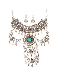 Trendy Silver Color+blue Hollow Out Crescent Moon Decorated Multi-layer Jewelry Sets