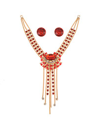 Personality Red Round Diamond Decorated Tassel Jewelry Sets