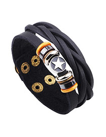 Fashion Black Pentagon Pattern Decorated Pure Color Strap Weaving Bracelet