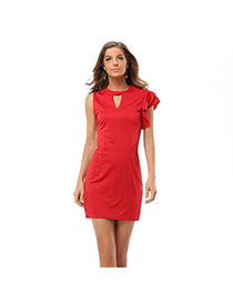 Casual Red Pure Color Design Round Neckline Sleeveless Large Size Dress