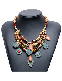 Trendy Brown Coin Pendant Decorated Multi-layer Bead Necklace