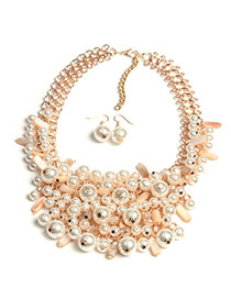 Fashion Gold Color Pearls Pendant Decorated Multi-layer Simple Jewelry Sets