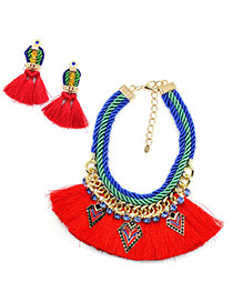Exaggerated Red Long Tassel Pendant Decorated Simple Jewelry Sets