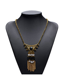 Exaggerated Gold Color Long Tassel Pendant Decorated Leaf Shape Necklace
