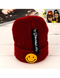 Lovely Clare-red Smiling Face Shape Pattern Decorated Knitted Hat