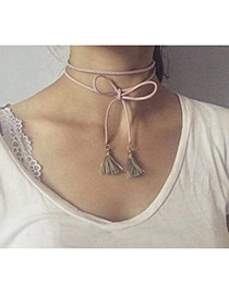 Fashion Pink Tassel Pendant Decorated Multi-layer Necklace