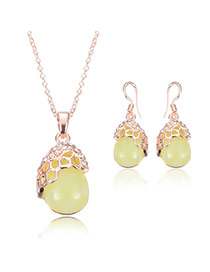 Sweet Yellow Oval Shape Gemstone Decorated Long Chain Jewelry Sets