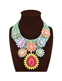Bohemia Multi-color Flower Decorated Hand-woven Short Chain Necklace