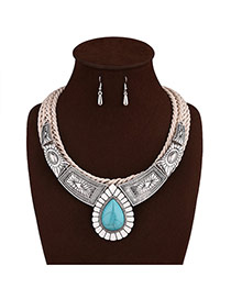 Vintage Silver Color Wwaterdrop Shape Gemstone Pendant Decorated Hand-woven Jewelry Sets