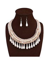 Elegant White Pearl Tassel Pendant Decorated Hand-woven Jewelry Sets